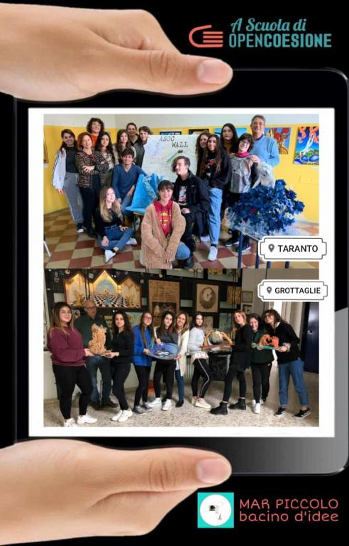 """Foto del Team """"Pescatori di idee"""" articolata in due classi delle due sedi del Liceo Artistico """"V.Calò"""""""